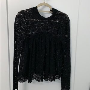 Free people black lace top